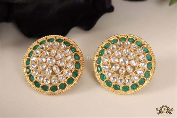 bd1b9963ad3b9 Green Emerald Kundan Big Round Tops -