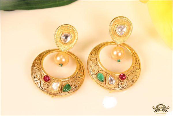 Emerald Ruby Pearl Kundan Matt Gold Small Bali Pattern Earrings